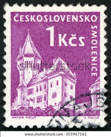 CZECHOSLOVAKIA - CIRCA 1960: post stamp printed in Czech (Ceskoslovensko) shows Smolenice castle Slovakia; Scott 976 A382 1k violet; circa 1960 - stock photo