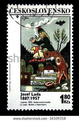 "CZECHOSLOVAKIA - CIRCA 1970s: A stamp printed in Czechoslovakia shows paint by artist Josef Lada  ""The watery"", circa 1970s"