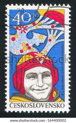 CZECHOSLOVAKIA - CIRCA 1977: stamp printed by Czechoslovakia, shows Alexei Leonov, circa 1977 - stock photo