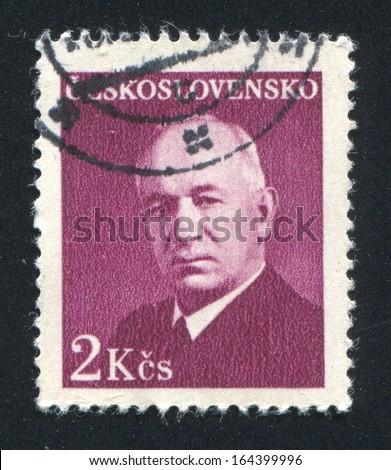 CZECHOSLOVAKIA - CIRCA 1948: stamp printed by Czechoslovakia, shows Benes, circa 1948 - stock photo