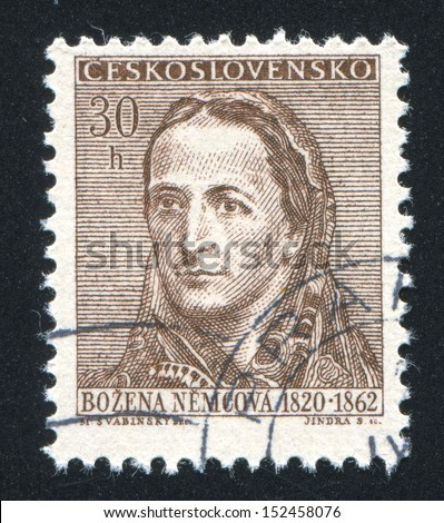 CZECHOSLOVAKIA - CIRCA 1962: stamp printed by Czechoslovakia, shows Bozena  Nemcova, circa 1962