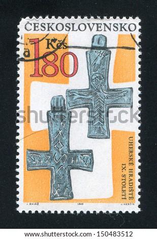 CZECHOSLOVAKIA - CIRCA 1969: stamp printed by Czechoslovakia, shows Cross with greek inscription from Bohemia and Moravia, circa 1969 - stock photo