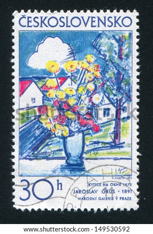 CZECHOSLOVAKIA - CIRCA 1973: stamp printed by Czechoslovakia, shows Flowers in window by Jaroslav Grus, circa 1973