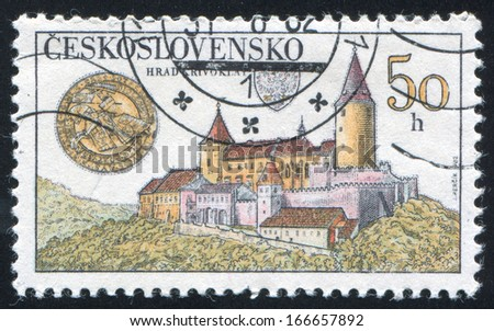 CZECHOSLOVAKIA - CIRCA 1982: stamp printed by Czechoslovakia, shows Krivoklat Castle, circa 1982