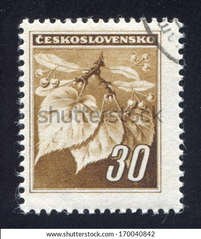 CZECHOSLOVAKIA - CIRCA 1939: stamp printed by Czechoslovakia, shows Linden Leaves and Buds, circa 1939