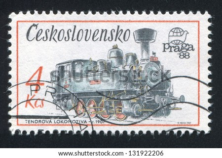 CZECHOSLOVAKIA - CIRCA 1987: stamp printed by Czechoslovakia, shows Locomotive tender, 1907, circa 1987