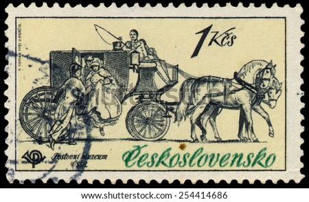 CZECHOSLOVAKIA - CIRCA 1981: Stamp printed by Czechoslovakia, shows Mail coach, 1830, circa 1981 - stock photo