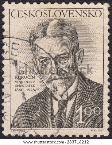 CZECHOSLOVAKIA - CIRCA 1952:stamp printed by Czechoslovakia , shows Martin Kukucin-Slovak writer, playwright and publicist, circa 1952 - stock photo
