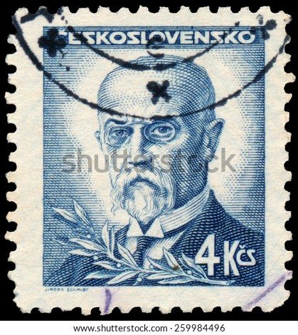 CZECHOSLOVAKIA - CIRCA 1945: stamp printed by Czechoslovakia, shows Masaryk, circa 1945 - stock photo