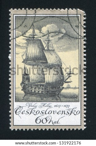 CZECHOSLOVAKIA - CIRCA 1976: stamp printed by Czechoslovakia, shows Old Engravings of Ships, by Vaclav Hollar, circa 1976 - stock photo