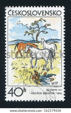 CZECHOSLOVAKIA - CIRCA 1972: stamp printed by Czechoslovakia, shows Pasture by Vojtech Sedlacek, circa 1972