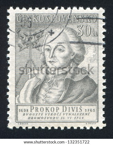 CZECHOSLOVAKIA - CIRCA 1954: stamp printed by Czechoslovakia, shows Prokop Divis, circa 1954