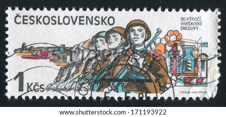 CZECHOSLOVAKIA - CIRCA 1985: stamp printed by Czechoslovakia, shows Soviet Army in CSSR, 1945, Anniversaries, circa 1985 - stock photo