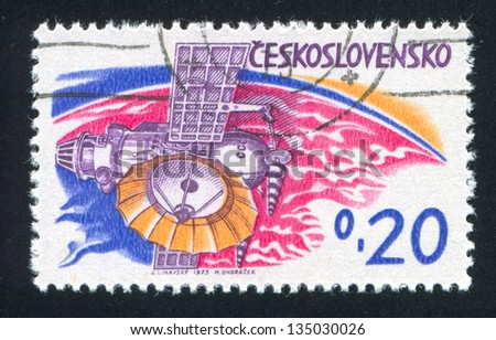 CZECHOSLOVAKIA - CIRCA 1973: stamp printed by Czechoslovakia, shows Soviet planetary station �¢??Venera�¢?�, circa 1973 - stock photo