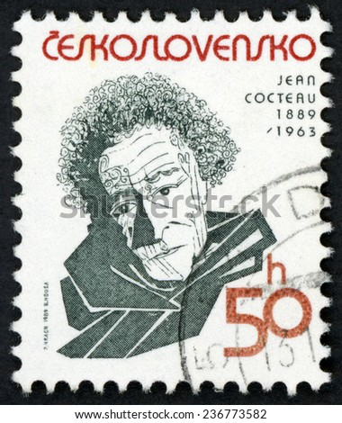CZECHOSLOVAKIA - CIRCA 1989: stamp printed in Ceskoslovensko shows Jean Cocteau (1889-1963) French poet, novelist, dramatist, playwright, artist & filmmaker; famous men; Scott 2733 50h; circa 1989 - stock photo