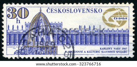 CZECHOSLOVAKIA - CIRCA 1967: stamp printed in Czech (Ceskoslovensko) shows colonnade & spring; 5th sports & cultural festival of communications ministry Karlovy Vary; Scott 1488 A559 30h; circa 1967 - stock photo