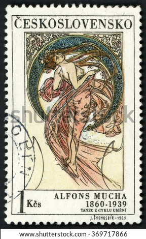 CZECHOSLOVAKIA - CIRCA 1969: stamp printed in Czech republic (Ceskoslovensko) shows dance paintings by Alfons Mucha (1860-1939), woman in see through dress; Scott 1636 A606 1k, circa 1969 - stock photo