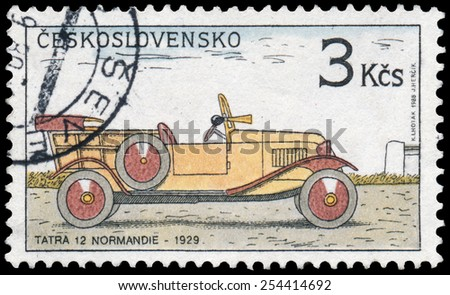 "CZECHOSLOVAKIA - CIRCA 1988: Stamp printed in Czechoslovakia from the ""Historic Motor Cars"" issue shows Tatra 12 Normandie, 1929, circa 1988. - stock photo"