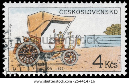 "CZECHOSLOVAKIA - CIRCA 1988: Stamp printed in Czechoslovakia from the ""Historic Motor Cars"" issue shows Meteor, 1899, circa 1988. - stock photo"
