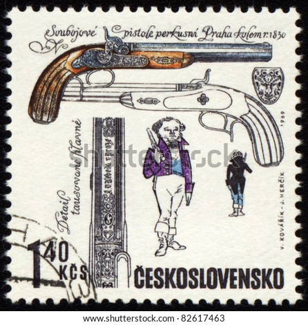 CZECHOSLOVAKIA - CIRCA 1969: stamp printed in Czechoslovakia shows ancient pistol, series, circa 1969