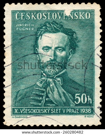 CZECHOSLOVAKIA - CIRCA 1938: Stamp printed in Czechoslovakia shows Jindrich Fugner, Co-Founder of Sokol Movement, circa 1938 - stock photo