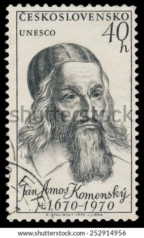 CZECHOSLOVAKIA - CIRCA 1970: Stamp printed in Czechoslovakia shows portrait Jan Amos Komensky, circa 1970 - stock photo