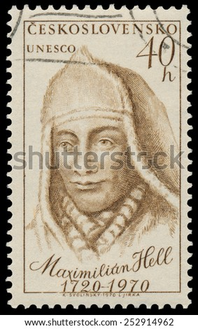 CZECHOSLOVAKIA - CIRCA 1970: Stamp printed in Czechoslovakia shows portrait Maximilian Hell, Slovakian Jesuit and astronomer, circa 1970 - stock photo
