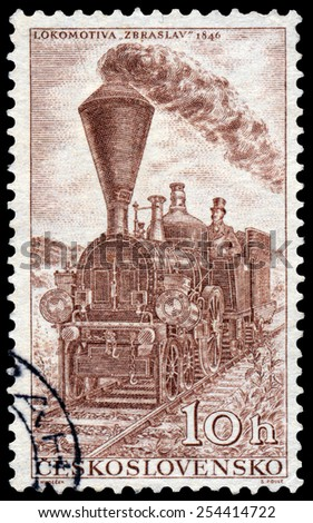 CZECHOSLOVAKIA - CIRCA 1956: Stamp printed in Czechoslovakia shows the 'zbraslav' retro locomotive of 1846, circa 1956. - stock photo
