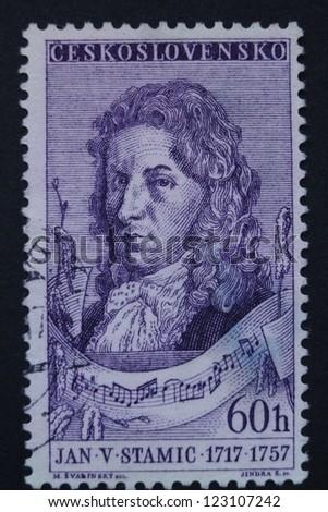 CZECHOSLOVAKIA - CIRCA 1957: Stamp printed in former Czechoslovakia commemorates Czech composer and violinist Jan Vaclav Stamic (Stamitz), circa 1957. - stock photo