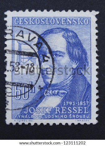 CZECHOSLOVAKIA - CIRCA 1957: Stamp printed in former Czechoslovakia shows Czech inventor of the first working ship's propellers Josef Ressel, circa 1957. - stock photo