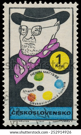 CZECHOSLOVAKIA - CIRCA 1969: Stamp printed in the Czechoslovakia, shows a caricature, Henry Matisse, circa 1969 - stock photo
