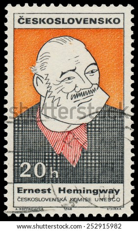 CZECHOSLOVAKIA - CIRCA 1968: Stamp printed in the Czechoslovakia shows Ernest Hemingway, American Author and Journalist, circa 1968 - stock photo