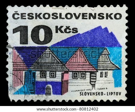 CZECHOSLOVAKIA - CIRCA 1972: the stamp printed by Czechoslovakia shows cottages, circa 1972