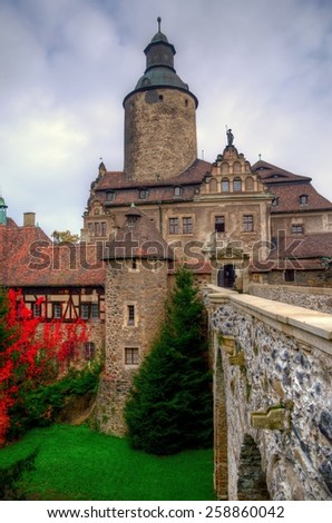 Czocha Castle, Poland. Czocha castle is situated in Lesna Village, Lower Silesia. It is a defensive castle from 13th century, at present it accommodates a hotel and museum. View from courtyard. - stock photo