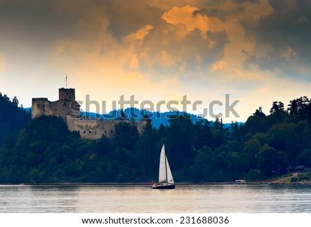 Czorsztyskie Lagoon Castle Niedzica - Poland - stock photo