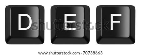 D, E, F black computer keys alphabet isolated on white - stock photo
