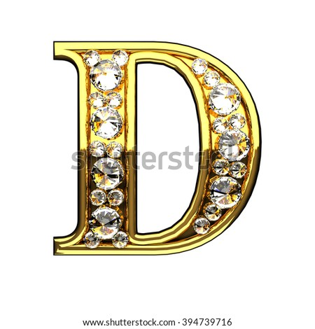 d isolated golden letters with diamonds on white