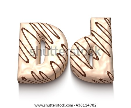 D letter of white chocolate with brown cream in 3d rendered on white background. - stock photo