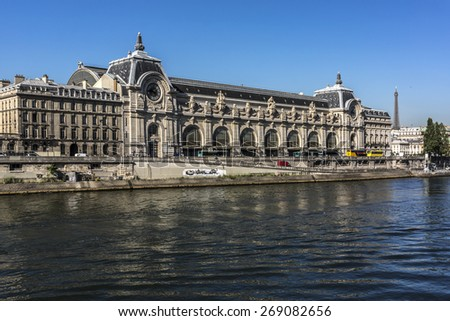 D'Orsay Museum on left bank of Seine. Paris, France. D'Orsay housed in the former Gare D'Orsay. D'Orsay holds mainly French art dating from 1848 to 1915.  - stock photo