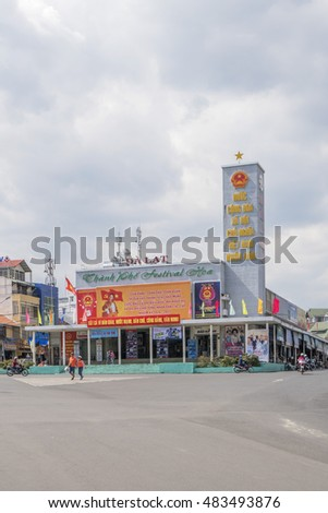 DA LAT, VIETNAM - MAY 15, 2016: Hoa Binh area and center traffic Landmark and street food at Da Lat city, Da Lat is one of the beautiful city in Viet Nam