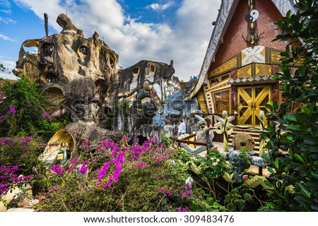 DA LAT, VIETNAM - NOV 26: Hang Nga guesthouse, popularly known as the Crazy House  on Nov 26, 2014, in Dalat, Vietnam. It is designed and constructed by Vietnamese woman architect Dang Viet Nga - stock photo