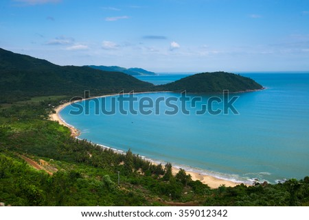 Da Nang beach near Hai Van pass mountain in Da Nang, Vietnam - stock photo