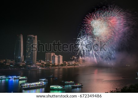 Da Nang City, Quang Nam provi, Vietnam - June 24, 2017: Image of international fireworks festival on Han River in Da Nang City, Vietnam.This International Firework Competition is held every two years