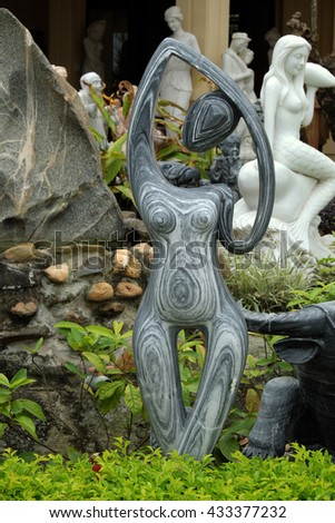 DA  NANG, VIET NAM- FEB 18, 2016: Sculpture art at Ngu Hanh Son, group of amazing shape for feng shui make from stone, statue product in white rock for religion