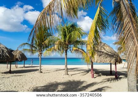 Daaibooi Beach - views around Curacao a Caribbean island - stock photo