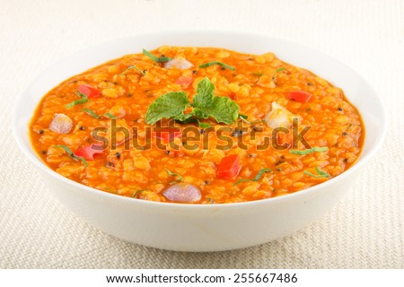 Daal Curry -spicy lentil soup, traditional Indian food,selective focus. - stock photo