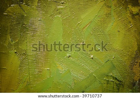 dab green, olive paint on canvas