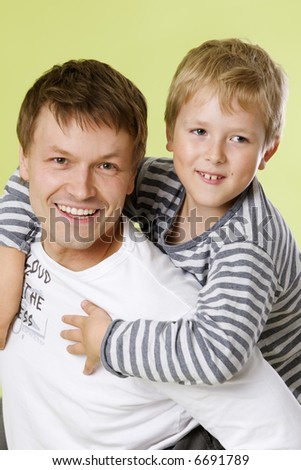dad and boy - stock photo