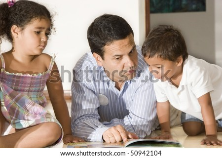 Dad and children - stock photo