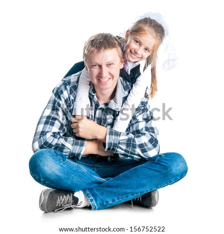 Dad and his daughter on white background